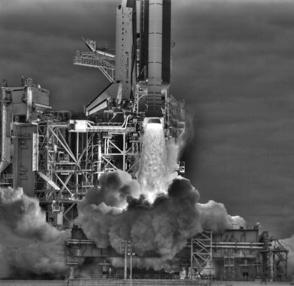 An image of STS-134 launch that is a composite of six images with different exposure settings