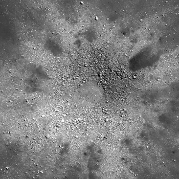 This crater, located in Mare Humorum, is relatively fresh and very bouldered