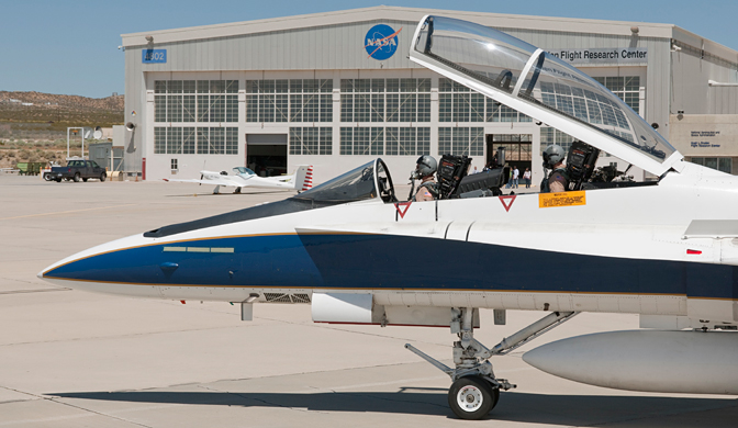 NASA Dryden pilot Nils Larson and flight engineer Mike Holtz prepare to taxi out in a NASA Dryden F/A-18 for another SCAMP flight.