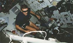 Astronaut on a treadmill in space