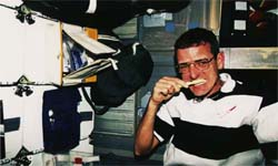 Astronaut brushes teeth while in space