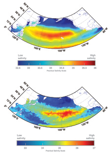A comparison of the level of detail available from averaged historical in-water ocean surface salinity data (top) with the detail that will be available from Aquarius ocean surface salinity measurements (bottom).