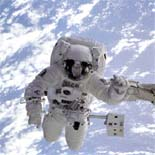 Astronaut floating in orbit