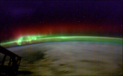 Green aurora topped by red in a Southern Hemisphere light show