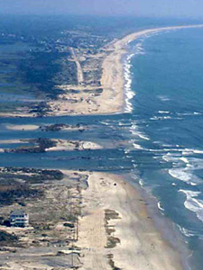 A photo of Hatteras Island, North Carolina, a few days after Hurricane Isabel swept through the area.