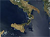 Italy's boot-shaped mainland and the island of Sicily taken by NASA's Terra satellite