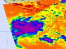 AIRS showed strong convection (purple) and thunderstorms in System 91E, about 425 miles south of Acapulco, Mexico.
