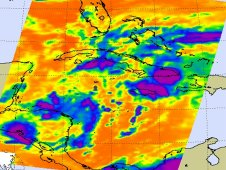 System 94L's strongest storms (purple) were over eastern Cuba and eastern Jamaica on June 7.