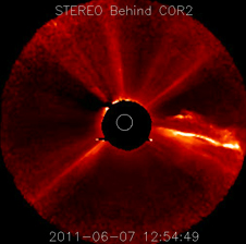 Video on June 7, 2011 event from STEREO Behind coronograph.