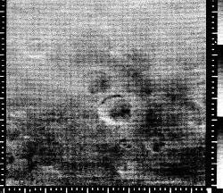 A photograph of the martian surface from Mariner 4.