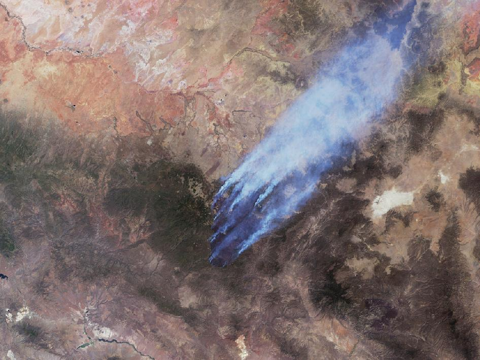 Image of Wallow and Horseshoe Two fires from MISR instrument