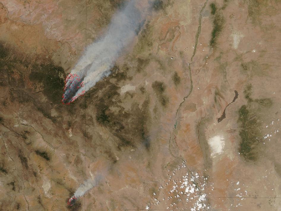 MODIS image of Wallow North and Horseshoe Two fires
