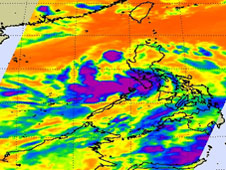 AIRS image of what was 92W and is now Tropical Depression 05W