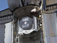 AMS secured in Endeavour payload bay