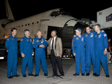 Endeavour crew and NASA Administrator Charles Bolden after landing
