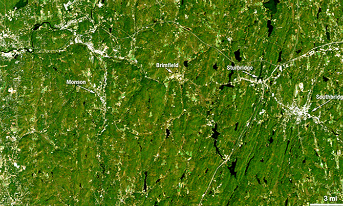 This is a Landsat 5 satellite image of the area between Springfield and Sturbridge, Mass. before the tornado. Credit: NASA/USGS, Mike Taylor