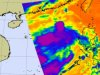 AIRS captured this infrared image of Sarika on June 10; purple areas represent icy cold temperatures and strong thunderstorms..