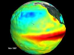 Earth globe showing sea surface temperatures associated with El Nino.