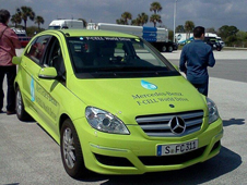 Mercedes-Benz B-Class vehicle fitted with high pressure tanks of hydrogen which is converted to electricity via a fuel cell.