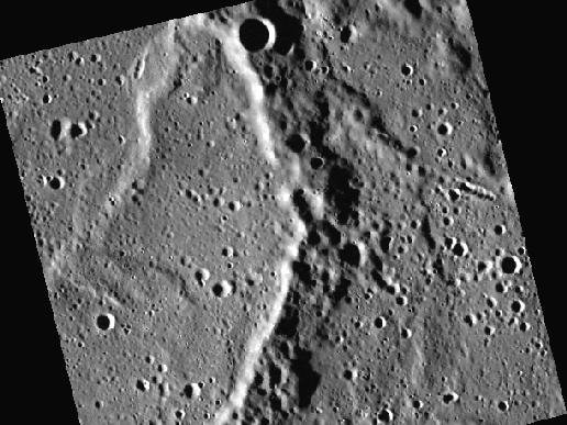 Image from Orbit of Mercury: A Wrinkle Ridge in Time