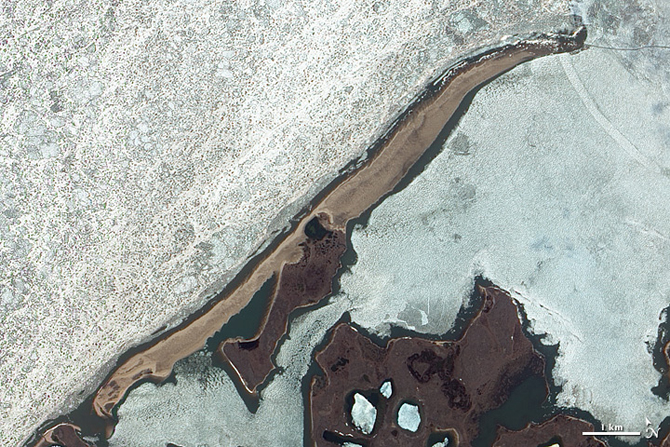 barrier island facing the Beaufort Sea