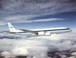 NASA's DC-8 research aircraft in flight.