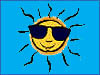 Cartoon image of Sun wearing sunglasses
