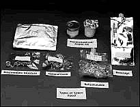 Space Shuttle food in various types of containers