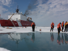 During the ICESCAPE mission's first field campaign in summer 2010, scientists collected optical and chemical data during a stop amid sea ice in the Chukchi Sea.