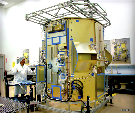 The Landsat Data Continuity Mission spacecraft mock-up at Orbital Sciences Corporation's engineering facility.