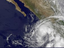 GOES-11 captured Hurricane Beatriz  on the coast of southwestern Mexico.