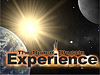 The words The Space Shuttle Experience with picture of Earth, moon, stars and shuttle in background