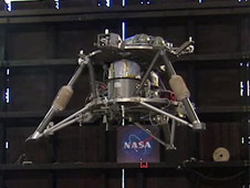NASA's robotic lander prototype hovers autonomously during the second free-flight test at Marshall Space Flight Center in Huntsville, Ala.