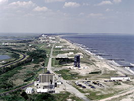 An aerial view of Wallops Island launch facilities.