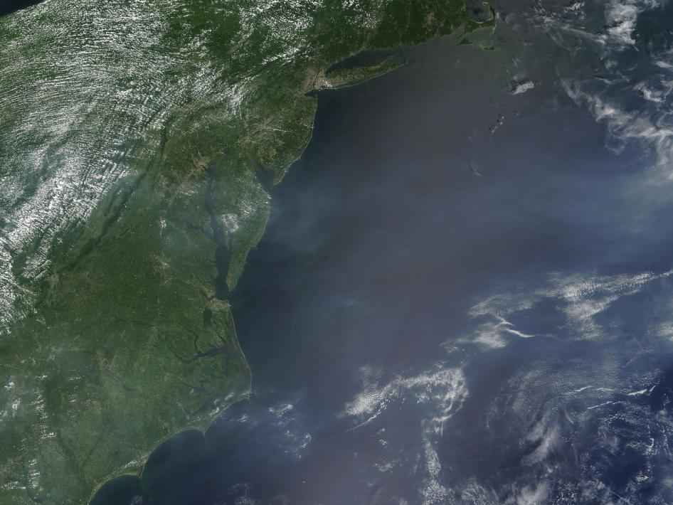 Satellite image of heavy haze over Baltimore-Washington corridor