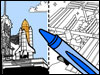 Drawing of Space Shuttle, coloring page and crayon