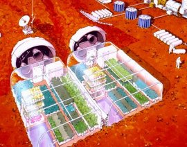 An artist's concept of greenhouses on Mars.
