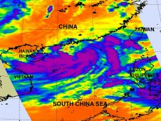 This AIRS image shows most of the strongest thunderstorms (purple) in Haima are south of the center of circulation.
