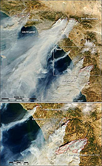 picture of the Southern California Wildfires taken by the Terra satellite