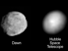 Hubble and Dawn views of Vesta
