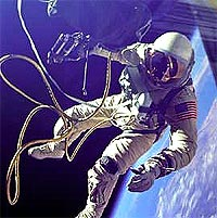 Astronaut Ed White on a tethered space walk.