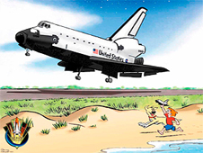 Cartoon of space shuttle with boy running beside it