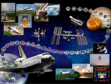 Space shuttle Atlantis tribute with images of Atlantis and all of the mission patches for Atlantis flights