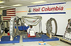 Columbia debris in its final resting place in the Vehicle Assembly Building.