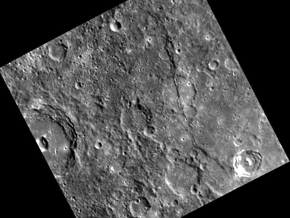 Image from Orbit of Mercury: A Scarp Among Craters