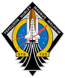 The mission patch features the space shuttle, the Greek letter omega and a modified NASA logo