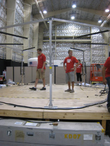 The University of Wisconsin team goes to work assembling the mechanical structure for their inflatable loft.