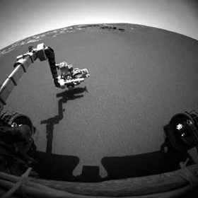 Mars Exploration Rover Opportunity with arm extended