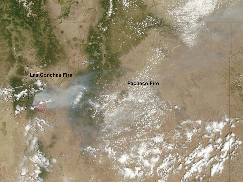 MODIS image of New Mexico fires