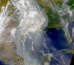 Heavy smoke from wildfires during the 1998 El Nino